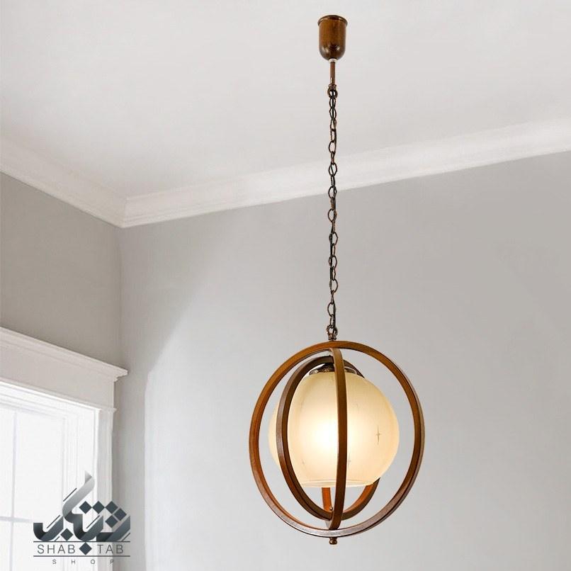 تصویر لوستر چوبی تک لامپ دارکار مدل کره کد R75 R75