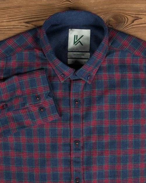 پیراهن پشمی چهارخانه اسپرت مردانه |