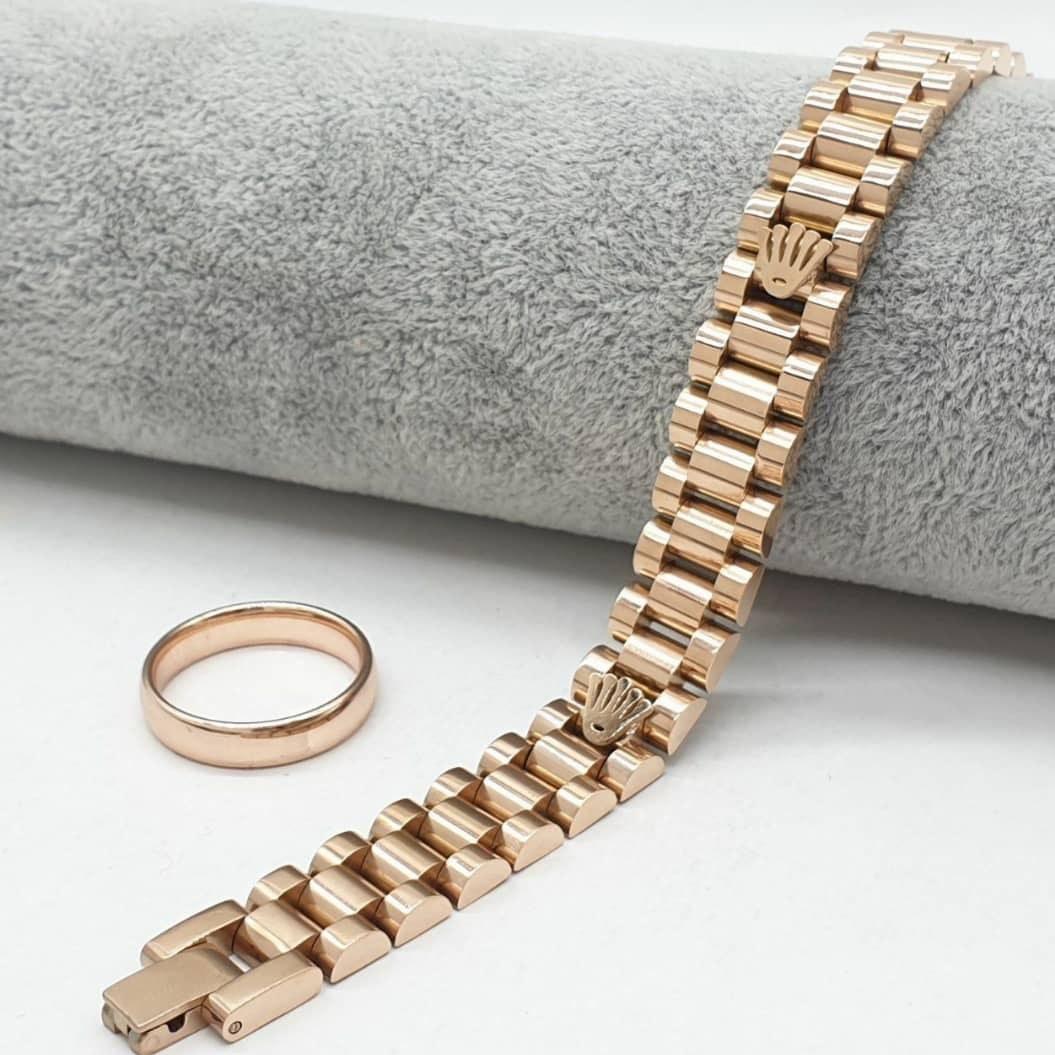 عکس ست دستبند و انگشتر طرح طلا مدل Rolex  ست-دستبند-و-انگشتر-طرح-طلا-مدل-rolex