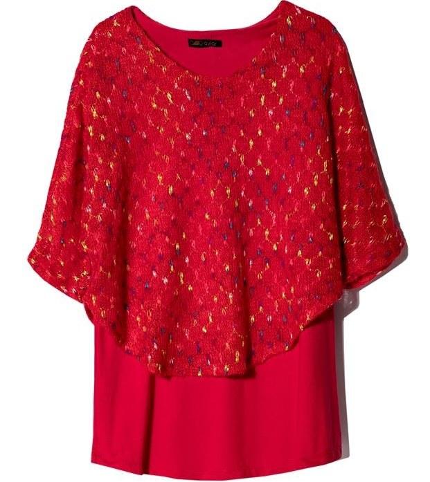 بلوز زنانه بافت یقه گرد زیر و رو قرمز آیلار