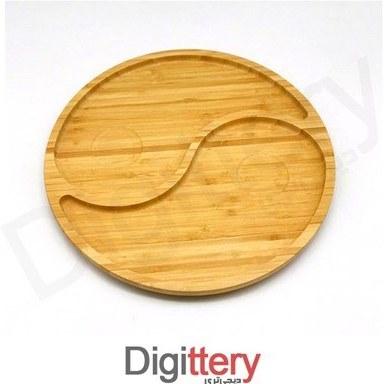 تصویر سینی سرو چوبی بامبو مدل گرد