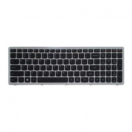 تصویر کیبورد لپ تاپ لنوو Lenovo laptop keyboard IdeaPad Z510 مشکی-با فریم نقره ای