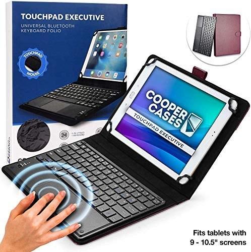 تبلت های صفحه کلید اجرایی Cooper Touchpad برای تبلت های 9 ، 10 ، 10.1 ، 10.5 اینچ | صفحه کلید بی سیم بلوتوث 2 در 1 با تاچ پد و چرم مصنوعی (بنفش)