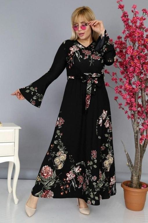 پیراهن سایز بزرگ کرپ والان دار یقه مشکی زنانه برند MJORA کد 1583823595
