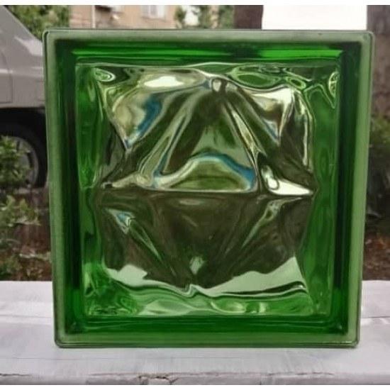 تصویر بلوک شیشه ای مدل دوستاره سبز ( کارخانه ای )