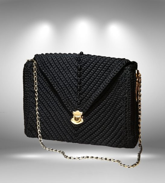 کیف مکرومه دستبافت طرح پرادا