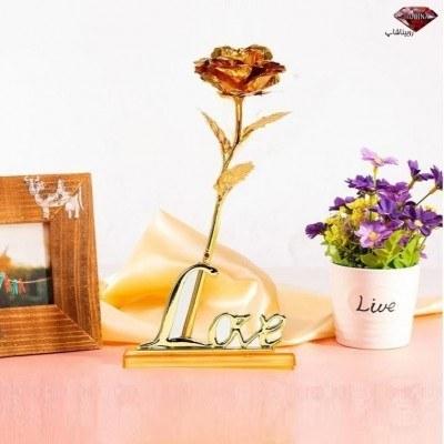 گل طلایی با پایه لاو به همراه جعبه هدیه