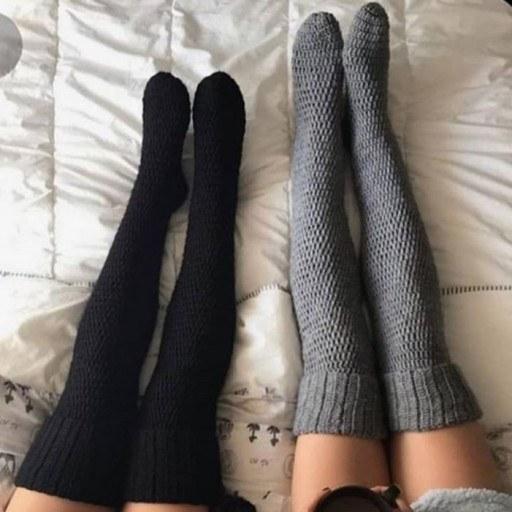 عکس جوراب ساقه بلندی بافتنی  جوراب-ساقه-بلندی-بافتنی