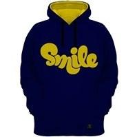 تصویر هودی مردانه 27 مدل SMILE کد F08 رنگ سرمه ای کلاه زرد