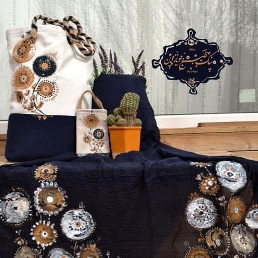ست کیف، شال و کیف موبایل گل صحرا نیک طبع دیزاین  
