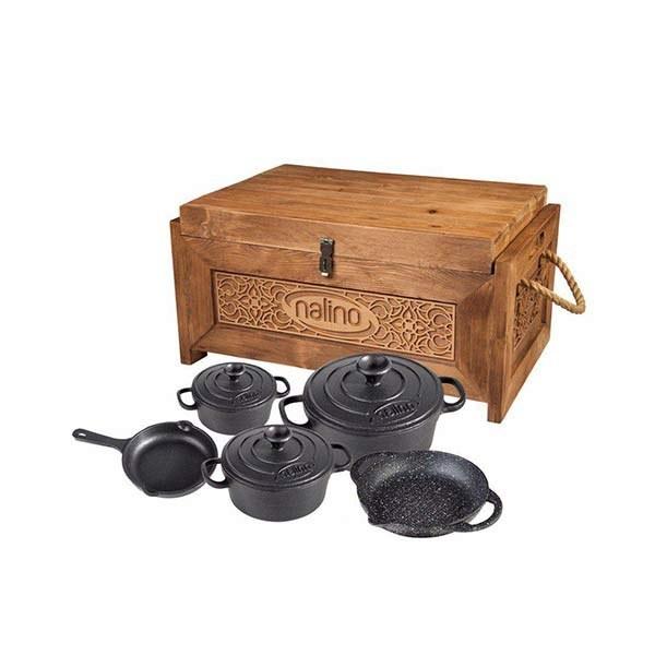 سرویس قابلمه 8 پارچه چدنی نالینو Tekla | 8 پارچه با ضخامت 5 میلی متر Nalino Cookware Set