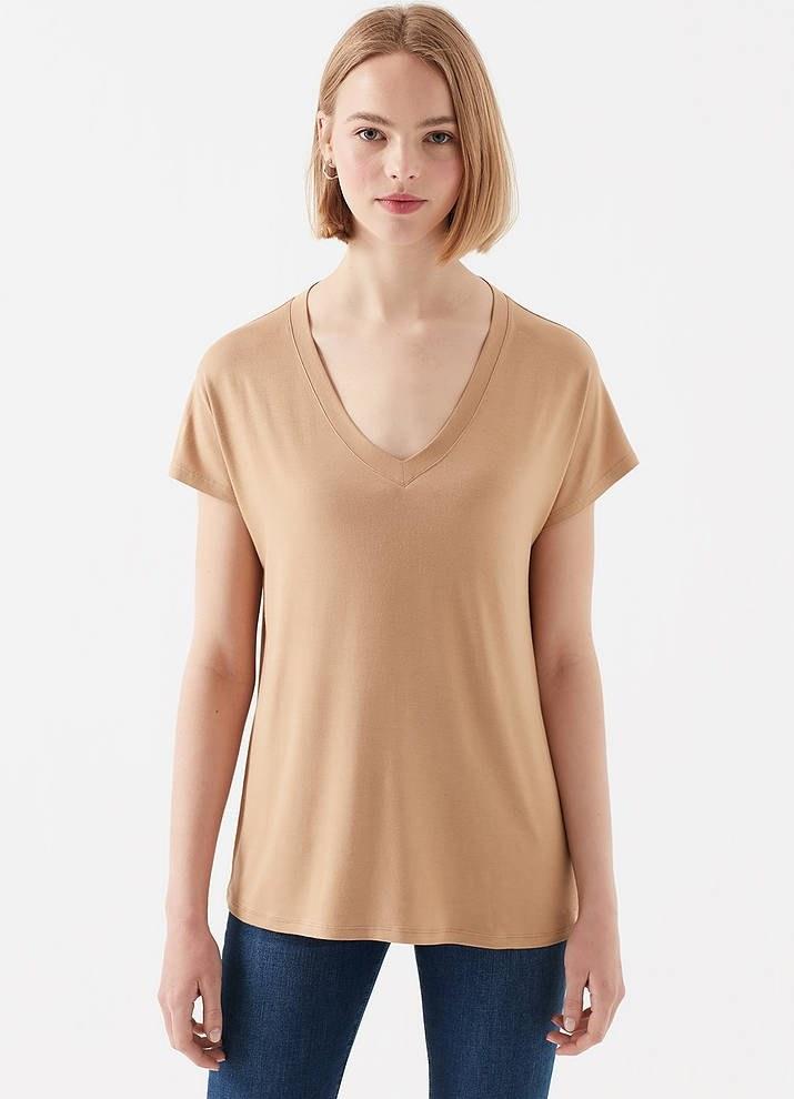 تصویر تی شرت یقه هفت زنانه ماوی