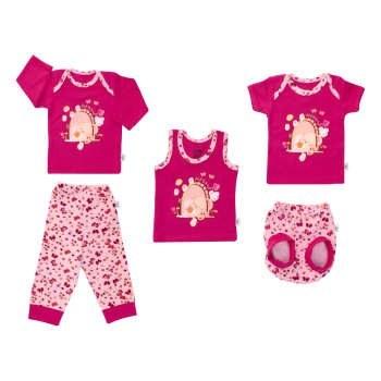 ست 5 تکه لباس نوزادی دخترانه آدمک طرح خرگوش و پروانه |
