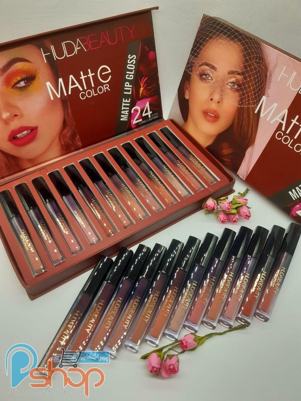 پک رژ لب ۱۲ عددی هدی بیوتی huda beauty matte lip gloss |
