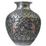 تصویر گلدان قلم زنی  هنر اصفهان گل مرغ طرح 3