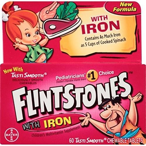 قرص جویدنی آهن و مولتی ویتامین کودکان Flintstones |