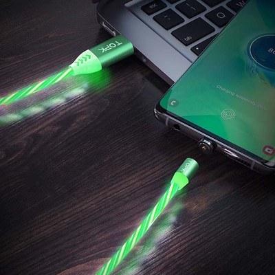 تصویر کابل شارژ مغناطیسی با سه سری تاپکی مدلAM67 طول 1 متر سبز