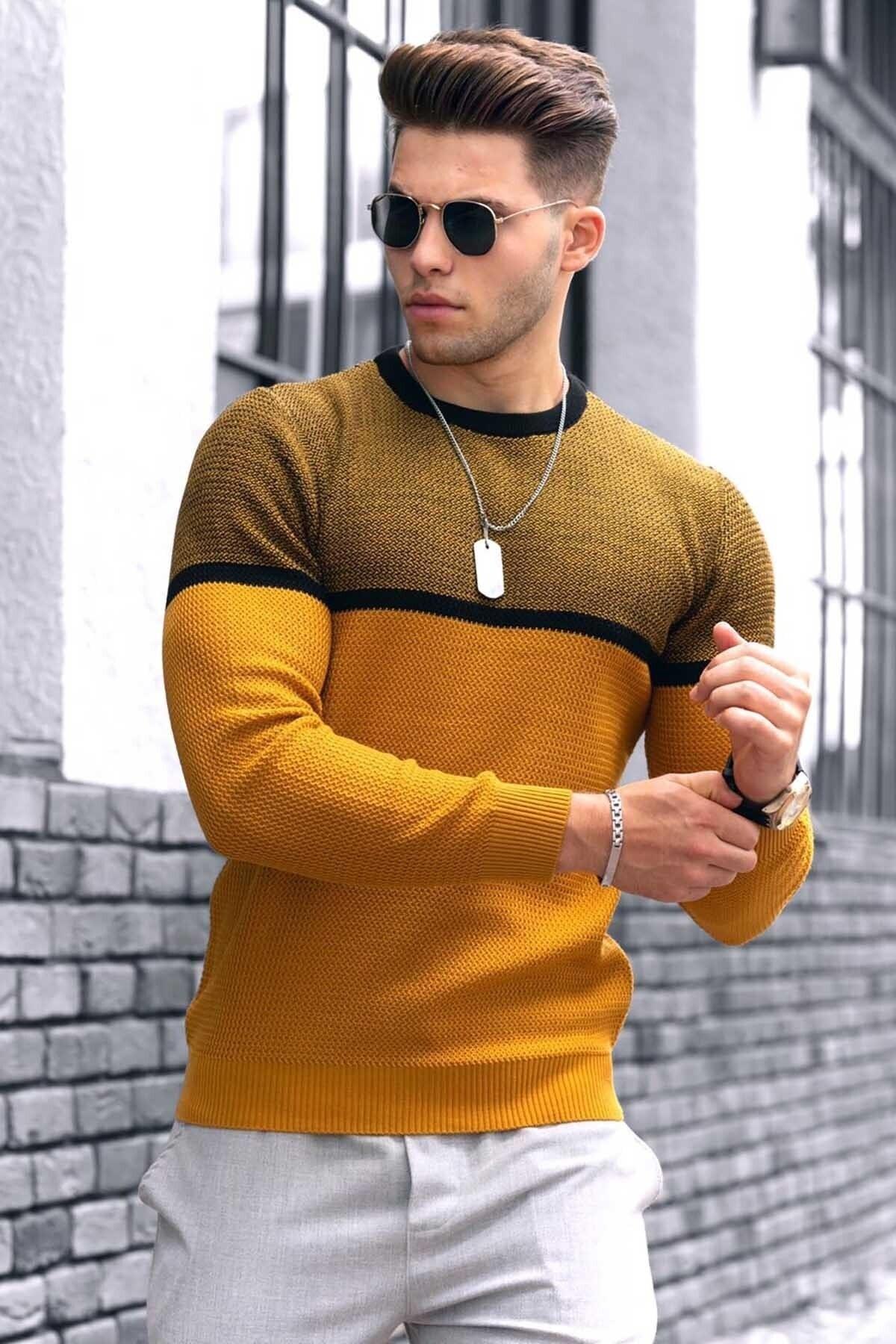 پلیور مردانه رنگ خردلی برند Madmext کد 1601016098