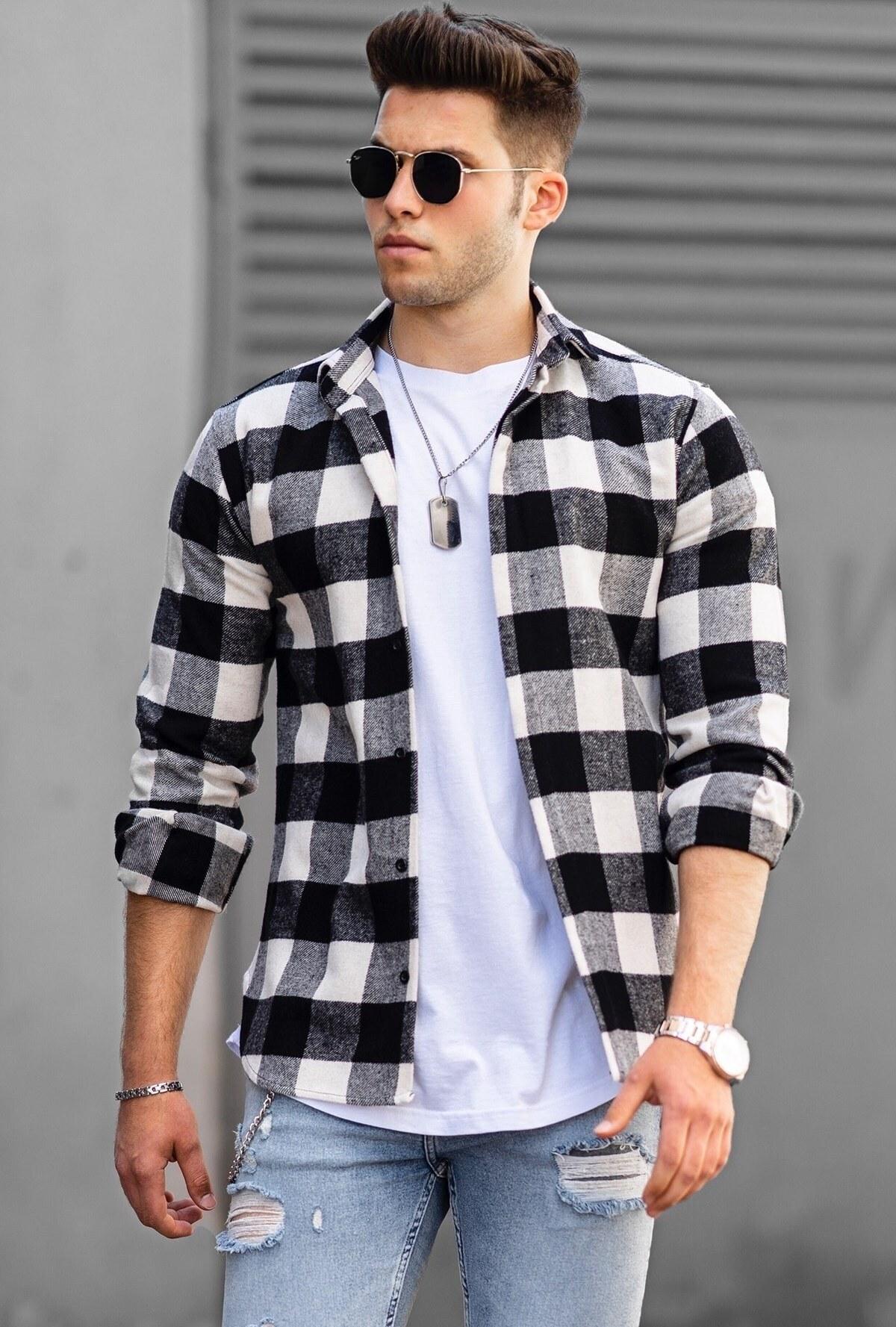 تصویر پیراهن مردانه چهارخونه سفید برند Madmext کد 1621793044