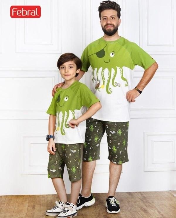 تصویر ست تی شرت و شلوارک راحتی پسرانه مادر مدل ویلی -سبز