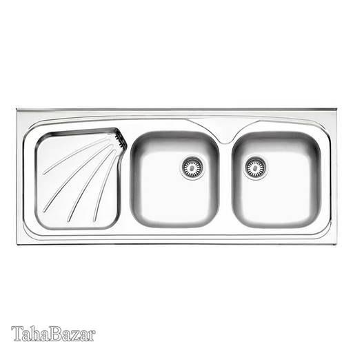 تصویر سینک ظرفشویی, دو لگنه استیل البرز توکار با سیفون مدل 270/50