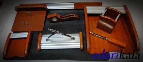 ست رو میزی اداری چوبی تیکه کد 0015 | code0015 wood 10 Pieces Desktop Office set