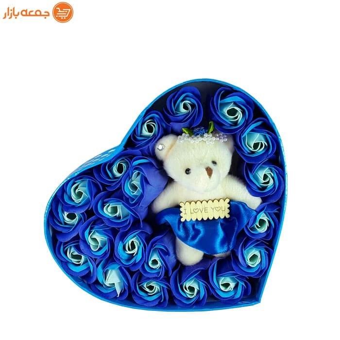 پکیج گل صابونی عروسک دار قلبی