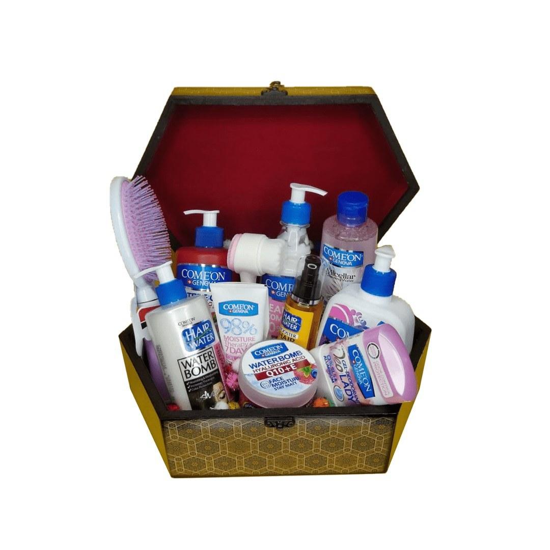 تصویر پک هدیه بهداشتی  مدل برگزیده با جعبه چوبی