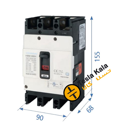 تصویر کلید اتوماتیک،کمپکت 100آمپر،قابل تنظیم حرارتی-ثابت مغناطیسی HYUNDAIمدلHGM