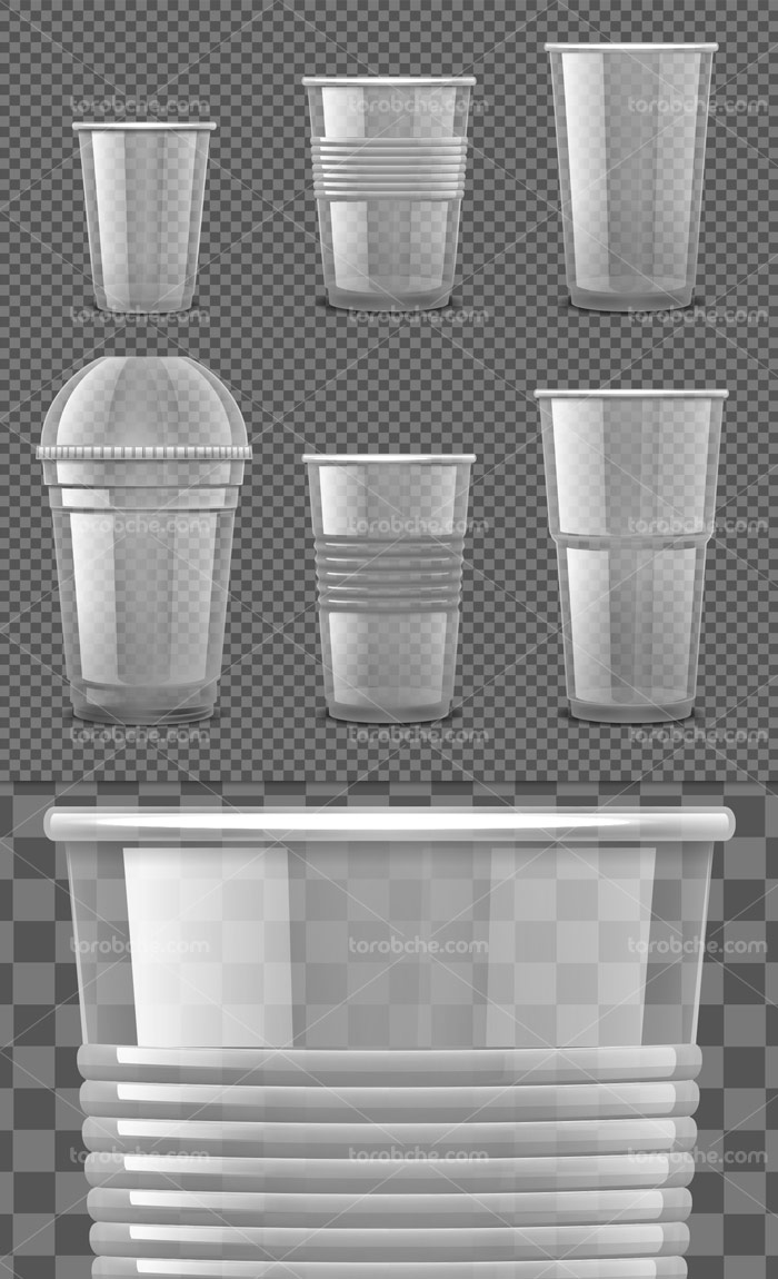 وکتور لیوان های یکبار مصرف پلاستیکی