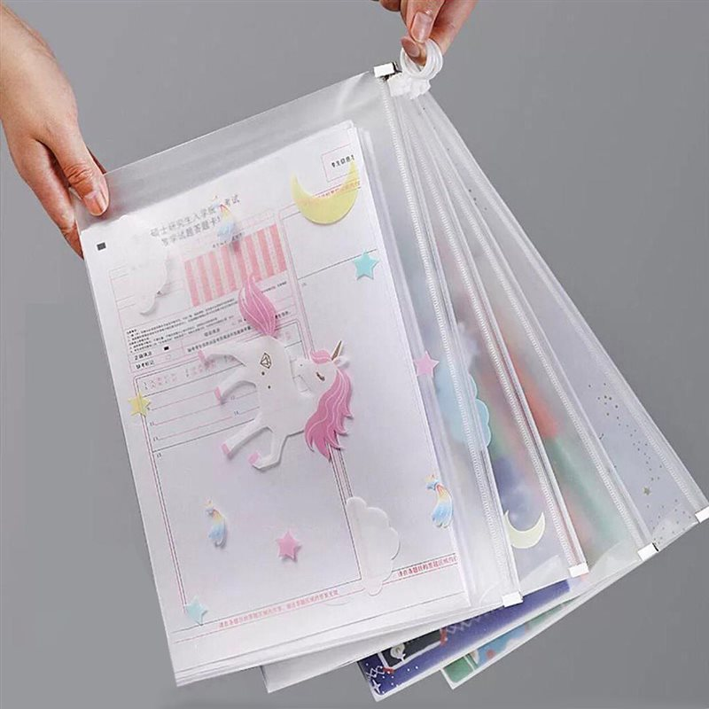 تصویر پوشه زیپ دار شفاف A4 طرح یونیکورن