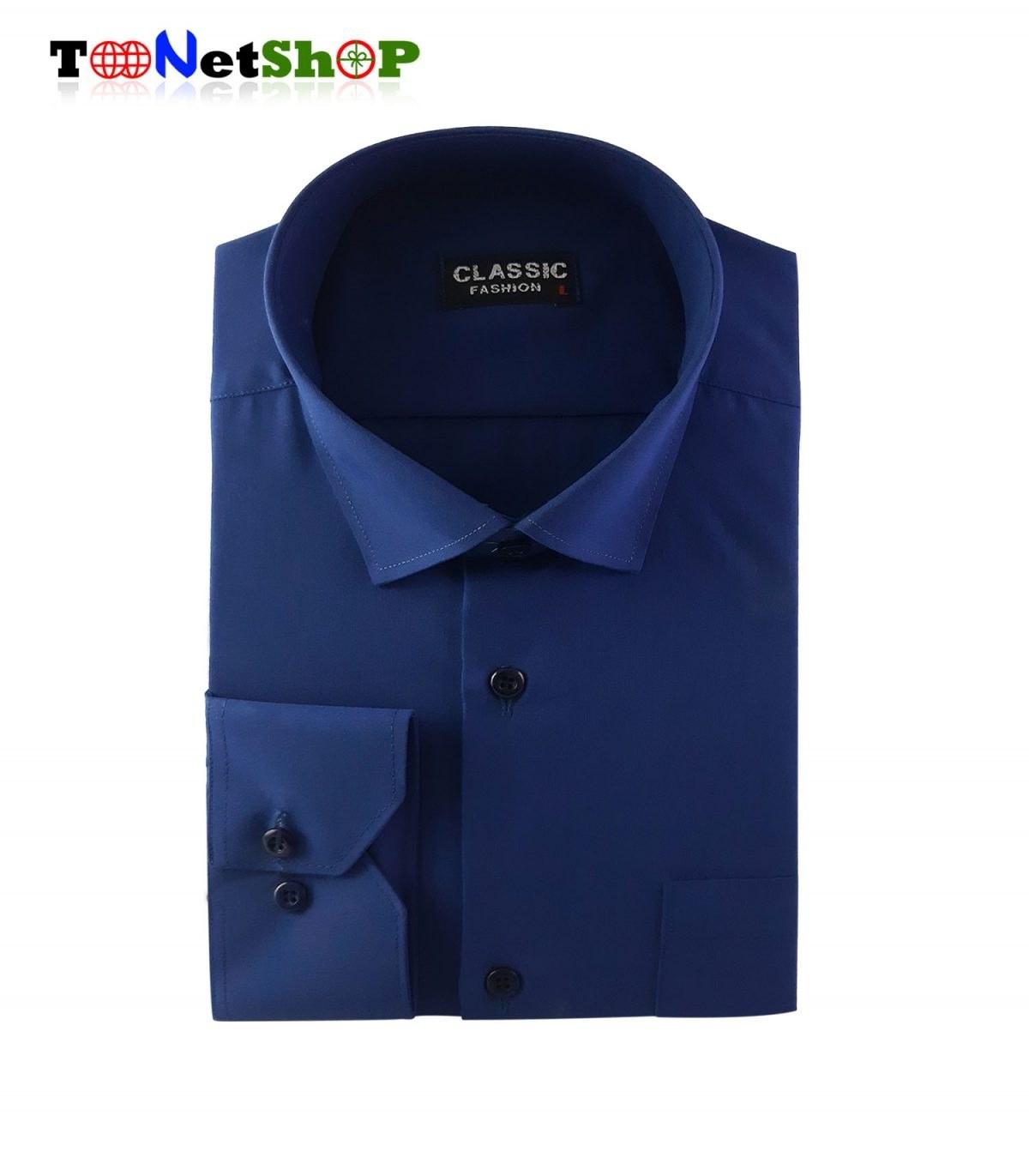 تصویر پیراهن مردانه سورمه ای کد 1004