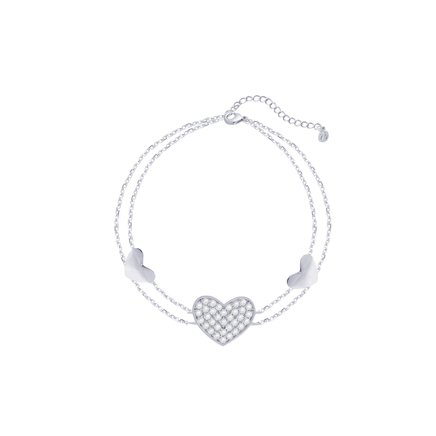 تصویر دستبند مونته آرچی مدل Three Hearts نقره ای