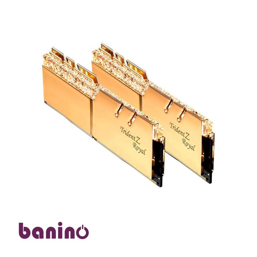 تصویر رم دسکتاپ DDR4 دو کاناله 3200 مگاهرتز CL16 جی اسکیل مدل Trident Z Royal Gold ظرفیت 16 گیگابایت