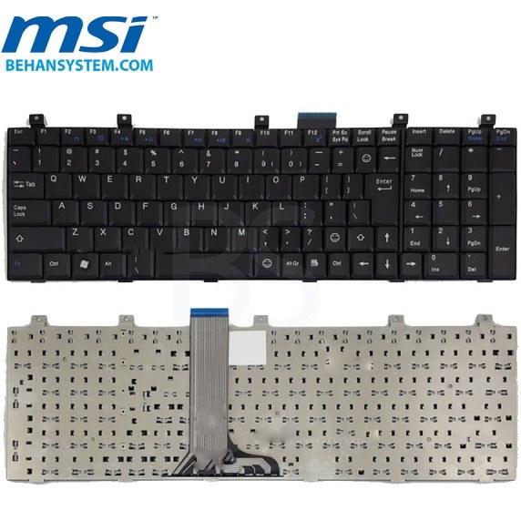 تصویر کیبورد لپ تاپ MSI مدل GT610 به همراه لیبل کیبورد فارسی جدا گانه