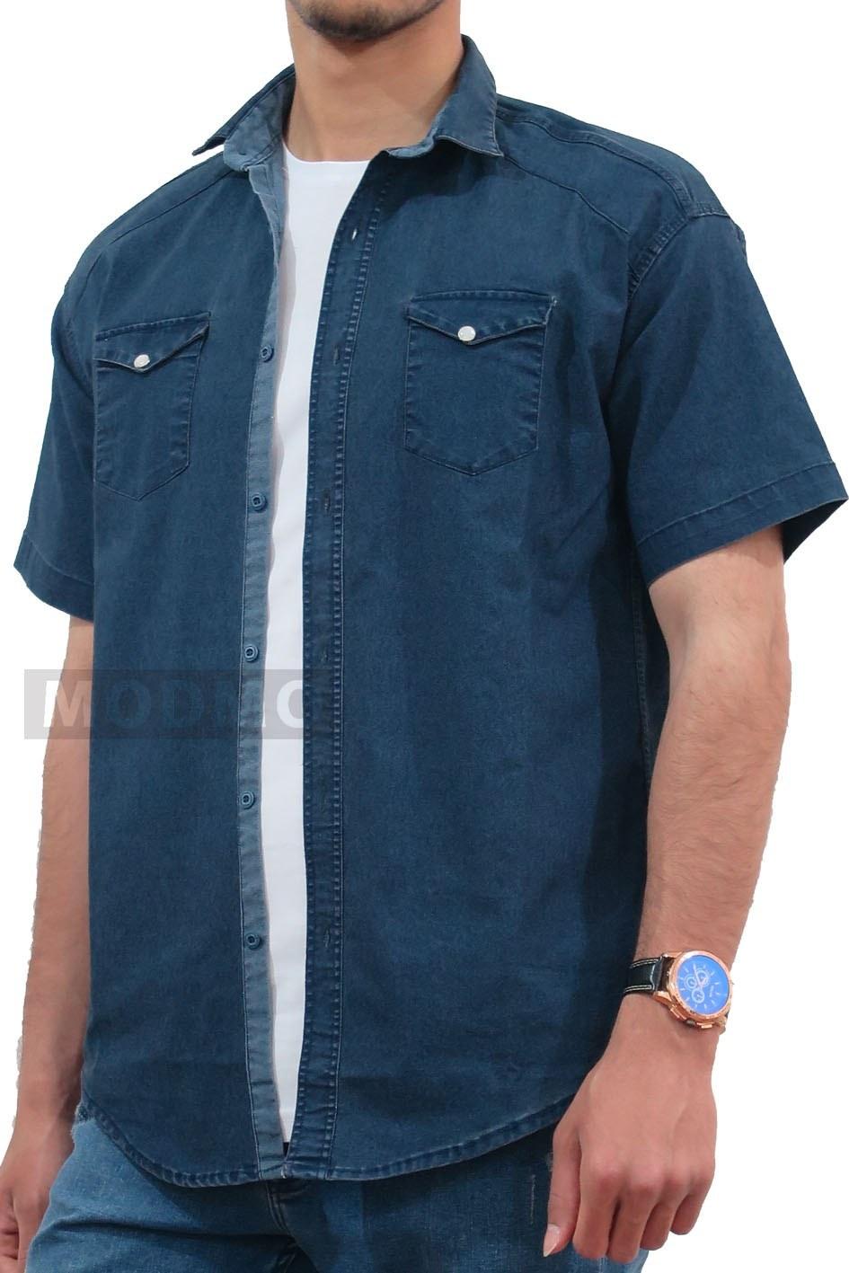 تصویر پیراهن جین آستین کوتاه پولو سرمه ای 5107