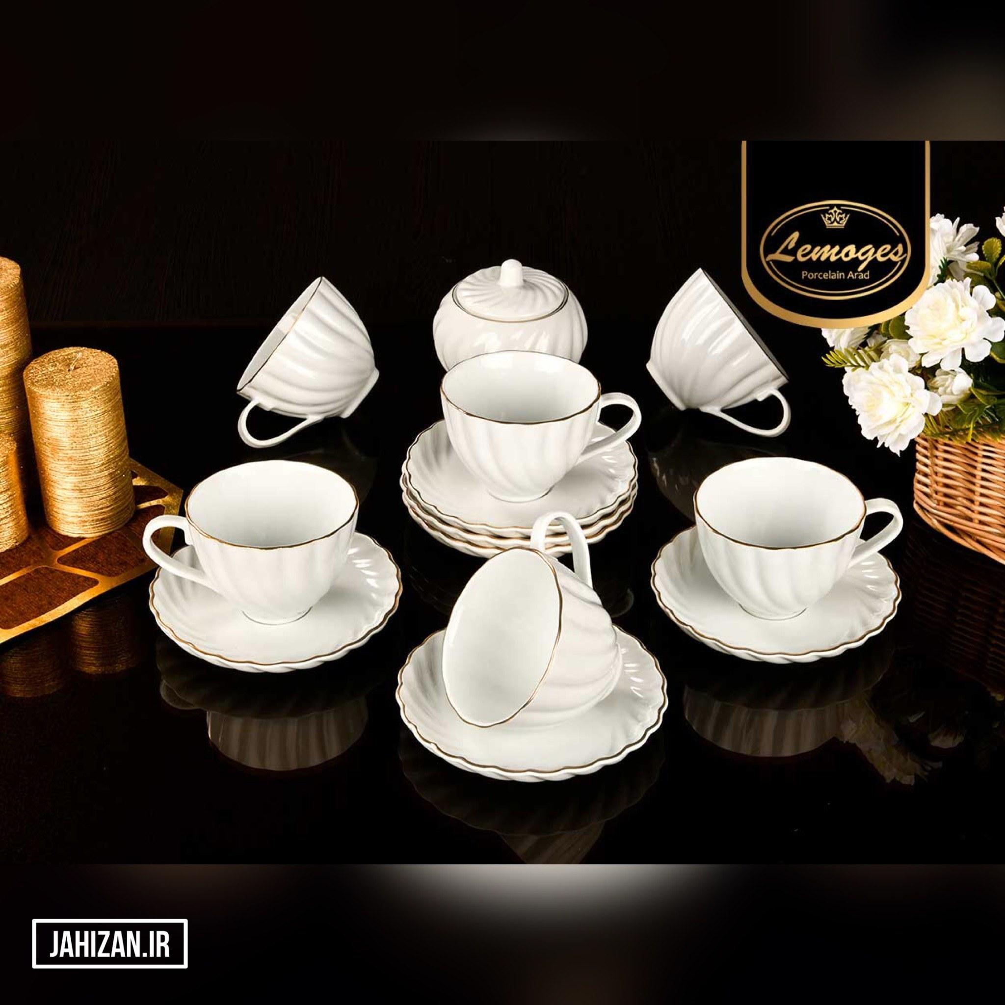 تصویر سرویس 14پارچه چای خوری لب طلایی مدل کارمن چینی لمون