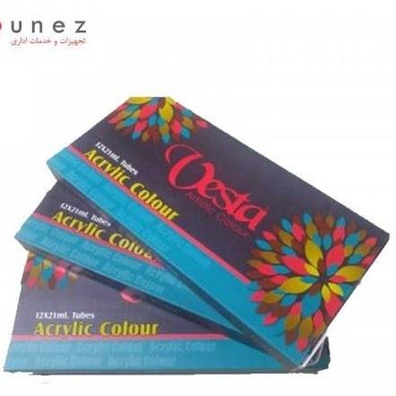 رنگ اکریلیک 21 میل جعبه 12 رنگ وستا-لوازم طراحی-وستا |