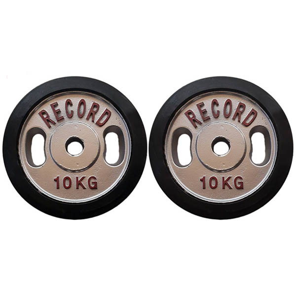 تصویر صفحه هالتر دور لاستیک فلزی خانگی رکورد بسته دو عددی
