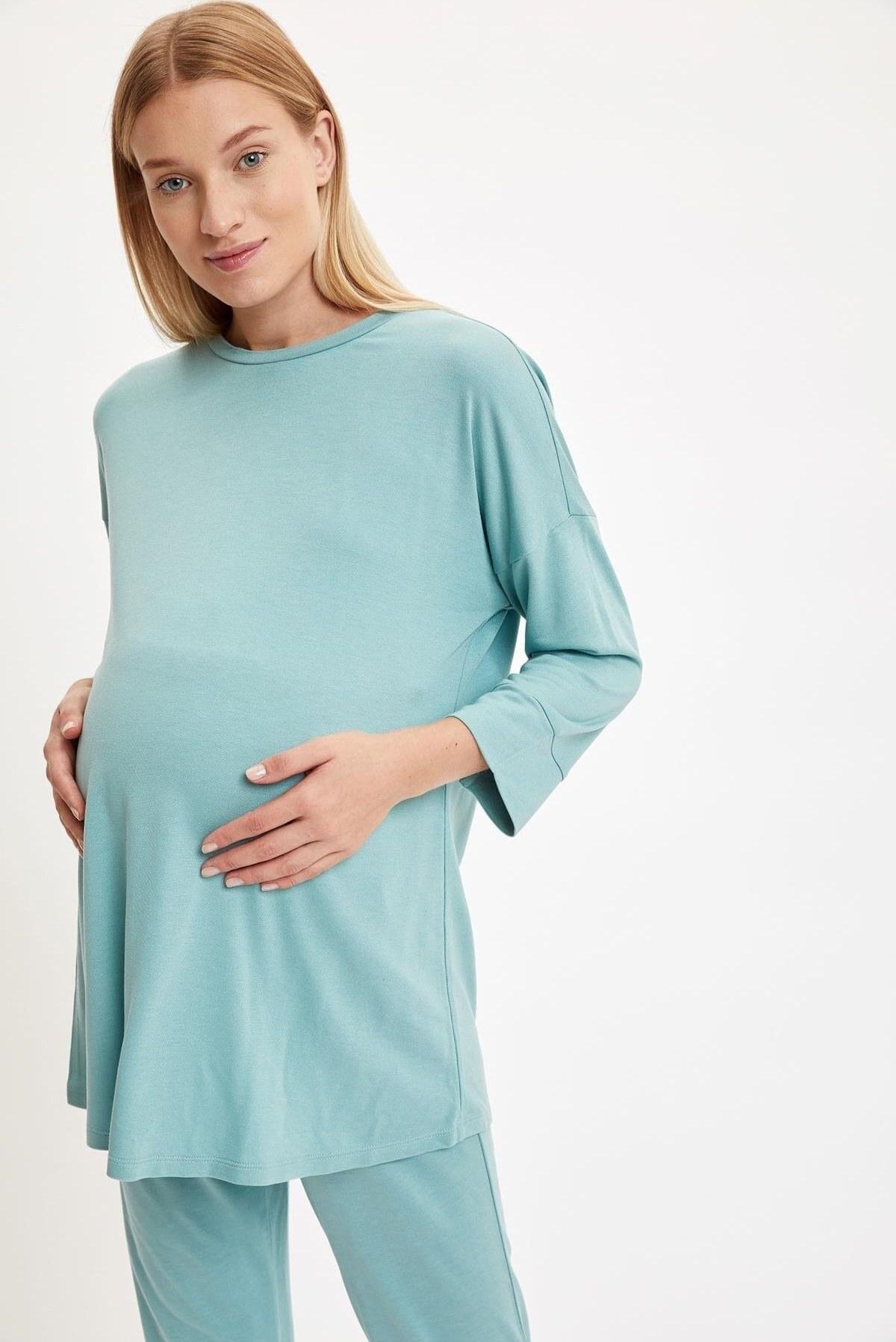 تیشرت بارداری زنانه آستین بلند Relax نعنایی رنگ برند Defacto کد 1608711781