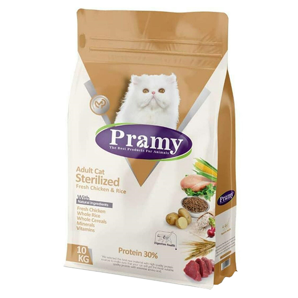 غذای خشک گربه پرامی مدل Sterilised وزن 10 کیلوگرم