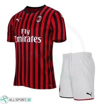 پیراهن شورت اول میلان Ac Milan 2019-20 Home Soccer Jersey Kit Shirt+Short