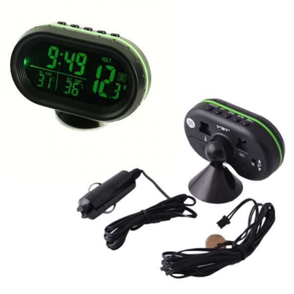 تصویر ساعت ، دماسنج دیجیتال چند منظوره خودرو به همراه تستر ولتاژ مدل VST-7009V