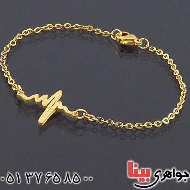 دستبند زنانه طرح ضربان روکش آب طلا _کد:۱۴۵۳۴  