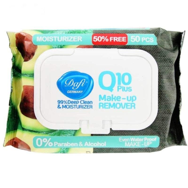 تصویر دستمال مرطوب پاک کننده آرایش دافی Q10 PLUS بسته 50 عددی