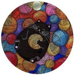 آینه جیبی طرح گربه و کاموا کد ai3  