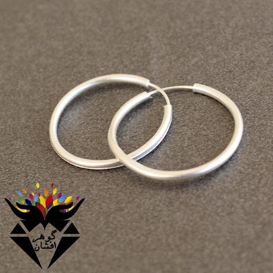 تصویر گوشواره نقره زنانه حلقه ای بزرگ