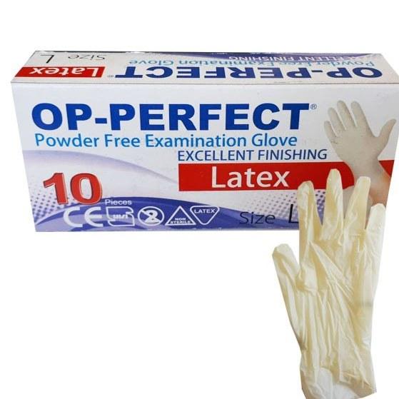 دستکش لاتکس بدون پودر OP PERFECT بسته ۱۰ عددی