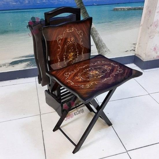 تصویر میز عسلی تاشو (چمدانی) معرق پولیشی