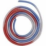 تصویر محافظ کابل صدفی براق سه رنگ نقره ای آبی قرمز